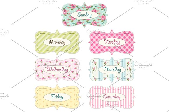 Days of week banners as retro festive frames in shabby chic style in Illustrations
