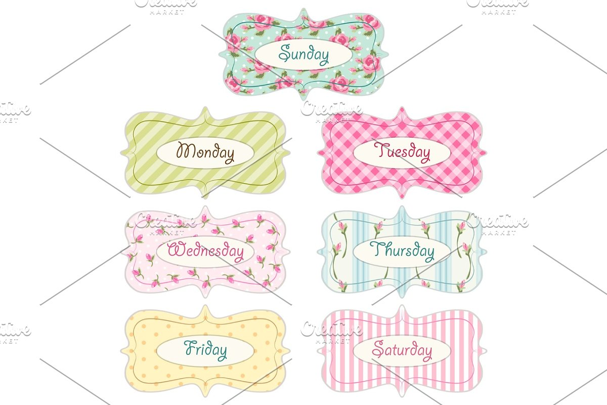 Days of week banners as retro festive frames in shabby chic style in Illustrations - product preview 8