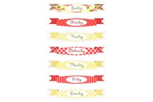 Days of week banners as retro festive ribbons in shabby chic style