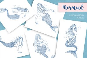 Set of mermaids in various postures