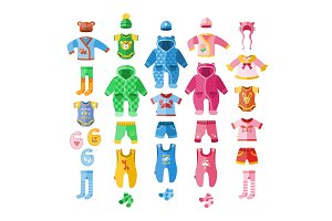Baby infant vector illustration clothes textile icons set design fabric dress child garment wear set