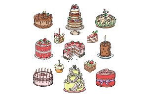Birthday or Wedding celebration cream cake pie vector illustration hand drawn sketch style for holidays food design