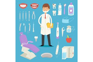 Cartoon dentist doctor character and stomatology equipment vector illustration.