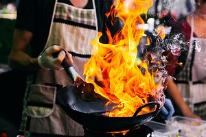 Fire burns in the pan