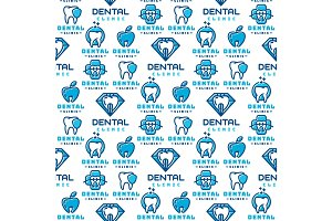 Vector dental label protection template illustration abstract seamless pattern background stomatology mouth graphic oral element