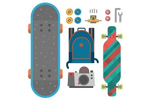 Skateboard fingerboard icon vector sport equipment skating transportation decorative speed freestyle leisure.