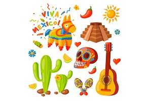 Mexico icons vector illustration traditional graphic travel tequila alcohol fiesta drink ethnicity aztec maraca sombrero.