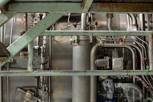 Aircraft engine at airlines maintenance facility