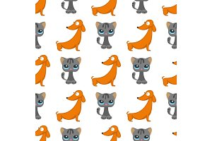 Cats dogs vector illustration cute animal funny seamless pattern background characters feline domestic trendy pet