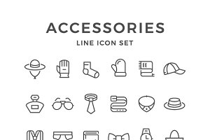 Set line icons of accessories