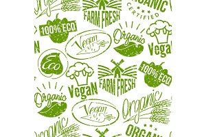 Premium quality eco vegan stamp logo product mark retro grunge badges vector seamless pattern background .