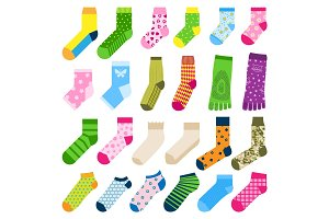 Foot toe socks fashion clothes accessory design vector illustration various cotton textile warm collection