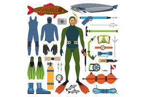 Underwater hunting and hunter man character with gun other fishing contrivance device weapon vector illustration.