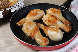 Ruddy fried chicken drumsticks