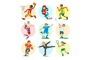 Sport people sportsmen woman and man flat fitness activities workout athletic characters vector illustration.