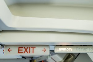 Exit sign board in aircraft
