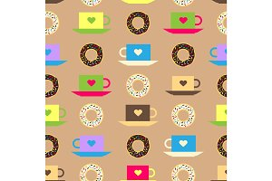 Seamless pattern with coffee and chocolate glazed donut background vector texture donut food illustration.