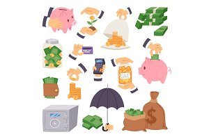 cartoon money save symbols concept finance icons banking capital investment formation strategy vector illustration
