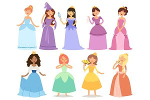 Cartoon girl princess characters different fairy-tale clothes dress cute adorble girls vector illustration.