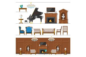 VIP vintage interior furniture rich wealthy house room with sofa set brick wall background vector illustration.