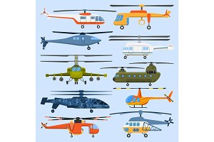 Helicopter air transport propeller aerial vehicle flying modern aviation military civil copter aircraft vector illustration flat design.