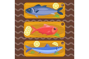 Fish on kitchen wooden chopping board fresh lemon top view seafood fishing cooking ingredients vector illustration