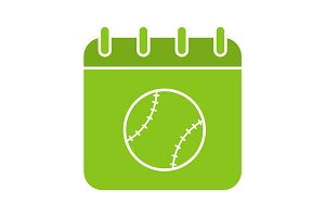 Baseball tournament date glyph color icon
