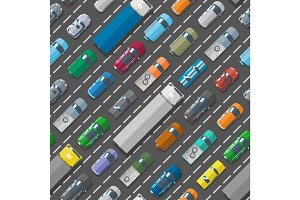 Cars vehicle city transport traffic jam road problems vector seamless pattern background