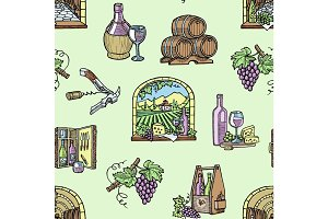 Wine production cellar winery viticulture winey product alcohol farm grape vintage hand drawn vector illustration seamless pattern background