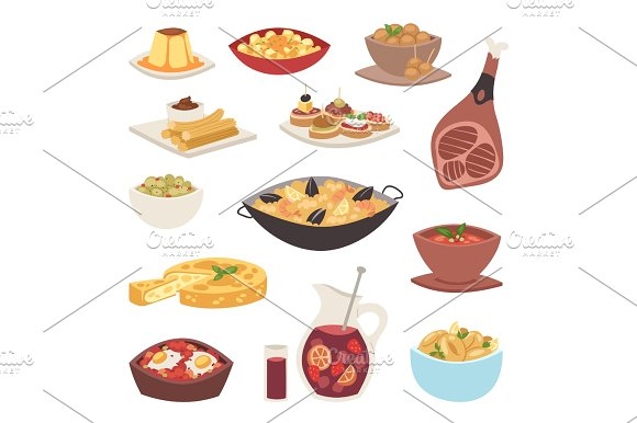 Spain Cuisine Cookery Traditional Food Dish Recipe Spanish Snack Tapas Crusty Bread Gastronomy Vector Illustration