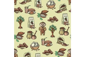 Vector cocoa products plantation handdrawn sketch icons chocolate cacao production sweet seamless pattern background