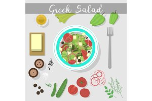 Greek salad with fresh vegetables food ingredient vegetarian olive healthy feta vegetable fresh appetizer vector illustration