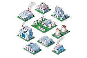 Isometric 3d factory building industrial element warehouse architecture house vector illustration
