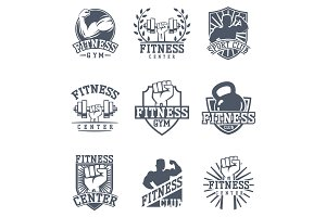 Monochrome fitness emblem design element gym sport club strong equipment silhouette vector illustration.