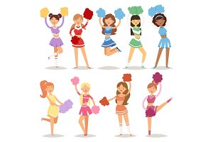 Cartoon cheerleaders girls sport fan dancing cheerleading woman team uniform characters vector illustration