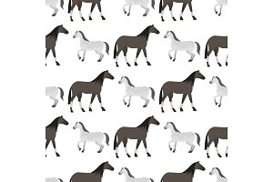 Horse pony stallion seamless pattern color farm equestrian animal characters vector illustration.