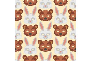 Cartoon animal bear rabbit party masks vector holiday illustration party fun seamless pattern background.