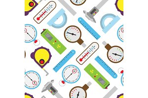 Measuring mechanism tools and electronic inspection devices engineering testing equipment seamless pattern background