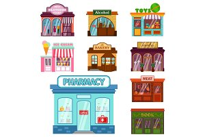 Vector flat design restaurant shops facade storefront market building architecture showcase window illustration.