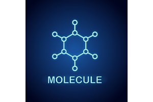 Molecule neon light icon