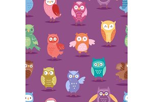 Cartoon owl night fly bird cartoon style vector set character different pose seamless pattern background