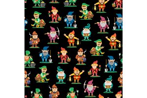 Fairy tale fantastic gnome seamless pattern background dwarf elf character poses magical leprechaun cute fairy tale man vector illustration