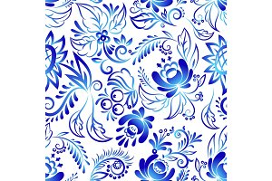 Russian ornaments art style gzhel blue flower traditional folk bloom branch seamless pattern background vector illustration.
