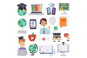 Online education languages school and travel programs distance online learning vector illustration teachers and icons set