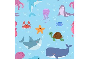 Sea animals illustration tropical character wildlife marine aquatic fishes sealess pattern vector background