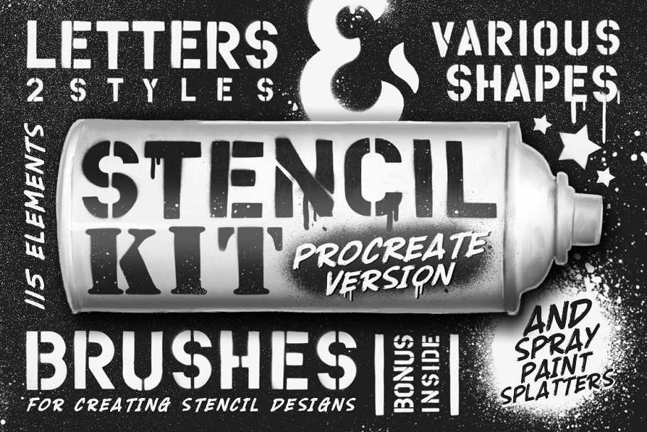 Stencil Kit Procreate brushes ~ Procreate Brushes ~ Creative Market