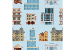 Different city public vector buildings houses set flat design office architecture modern street apartment seamless pattern background.