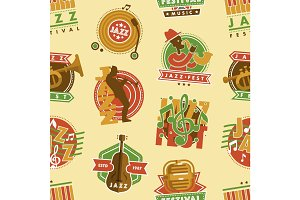 Jazz music festival label with saxophone wind instruments musician fest and microphone badge vector seamless pattern background .