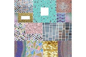 Mosaic decoration frames patchwork traditional design geometric ornament element elegant background vector illustration.