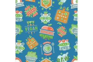 Organic vegan healthy vector food eco restaurant logo badges labels with vegetarian raw nature food diet seamless pattern background